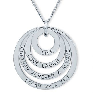 Sterling Silver Live Laugh Love Together Forever Family Pendant