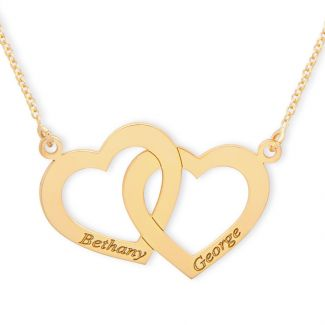 9ct Yellow Gold Plated Engraved Horizonital Double Heart Pendant With Chain