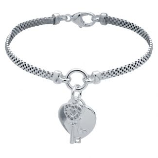 Sterling Silver Childs Heart With CZ Key Bracelet With Optional Engraving