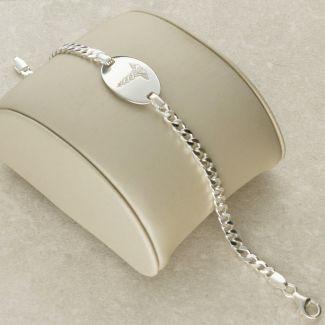 Sterling Silver Ladies Medic ID Bracelet With Free Engraving