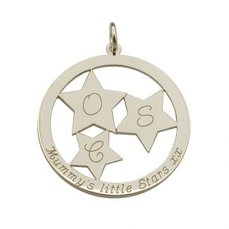Sterling Silver Engraved Constellation Stars Mothers Pendant