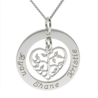 Mothers Day Tree of Life Family Necklace in Sterling Silver