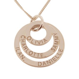 18k Rose Gold Plated Triple Disc Personalized Family Necklace