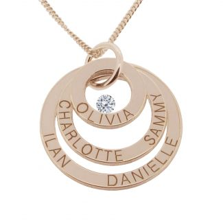 18k Rose Gold Plated Triple Disc Personalized Family Necklace With Swarovski Crystal