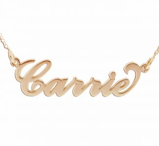 18k Rose Gold Plated Carrie Style Personalized Name Necklace with Curl