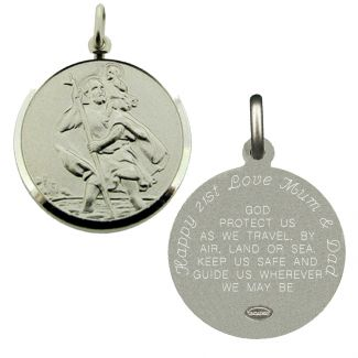 Sterling Silver 27mm St Christopher Pendant With Travellers Prayer & Optional Engraving