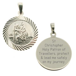 Sterling Silver 20mm Diamond Cut St Christopher Pendant With Travelers Prayer and Optional Chain