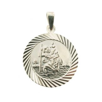 Sterling Silver 20mm Diamond Cut St Christopher Pendant With Optional Personalization and Chain