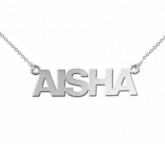 Sterling Silver Block Style Personalised Name Necklace