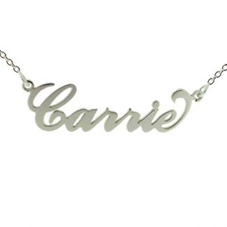 Sterling Silver Carrie Style Personalized Name Necklace with Curl