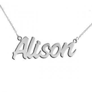 Sterling Silver Challenge Style Personalized Name Necklace