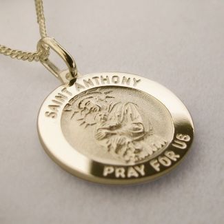 9ct Yellow Gold Plated St Anthony 3D Medal With Optional Engraving