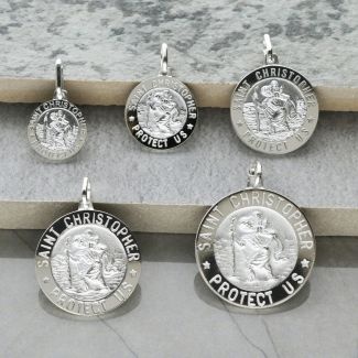 Sterling Silver 3D St Christopher Pendant Various Sizes With Optional Engraving & Chain