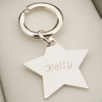 Sterling Silver Engraved Star Keychain