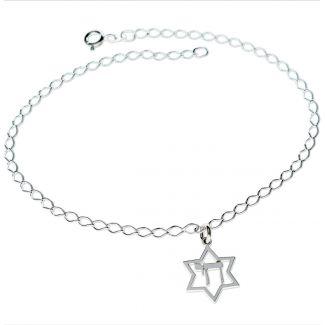 Sterling Silver Star Of David & Chai Pendant Bracelet