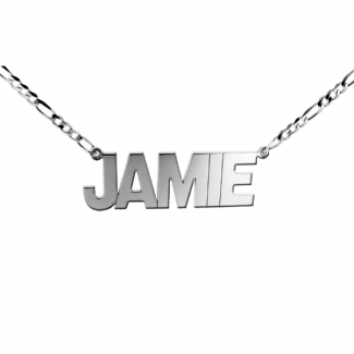 Sterling Silver Mens Block Style Extra Large Name Necklace On Figaro Chain