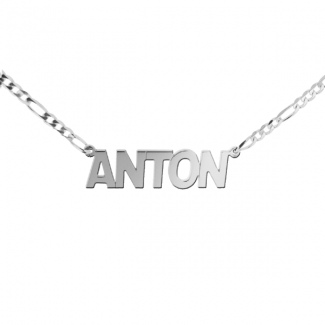 Sterling Silver Mens Block Style Large Name Necklace On 3.2mm Figaro Chain