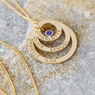 9ct Yellow Gold Plated Engraved Triple Disc Personalised Family Necklace With Sapphire
