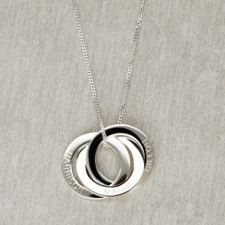 Sterling Silver Engraved Triple Russian Ring Pendant