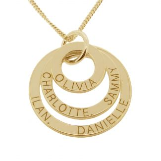 18k Yellow Gold Plated Triple Disc Personalized Family Necklace