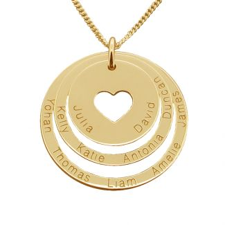 18k Yellow Gold Plated Two Disc Cut Out Heart Personalized Family Necklace
