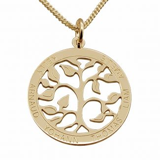 18k Yellow Gold Plated Filigree Tree of Life Disc Personalized Family Necklace