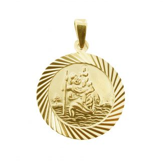 18k Yellow Gold Plated 20mm Diamond Cut St Christopher Pendant With Optional Personalisation and Chain
